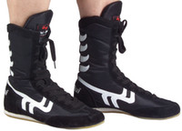 sporting good equipment - Good Quality Black Red MMA Boxing Shoes For Men Boxeo muay Thai Wrestling Fighting Sports Equipment GYM Training Boxing Boots