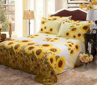 Wholesale Cotton Bed Sheet With Sunflower Pattern