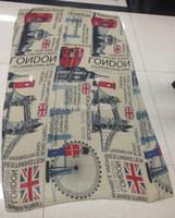 achat en gros de yeux londres-Vente en gros à chaud! Mode New Uniex Flag UK London Eye Imprimer Imprimer foulards écharpe Femmes Accessoires Buckingham Palace Châle drapeau britannique