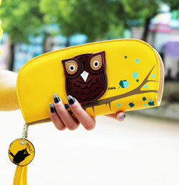 Wholesale-Women Wallets Candy Color Purses Cute Owl 3D Print Round Leather Wallet Zipper Long Clutches 2015 New Wholesale B347