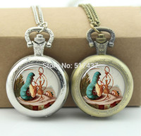 Cheap Wholesale-Alice and the Catepillar Pocket Watch Living Locket Necklaces Style Retro Vine Pocket Watch Necklace