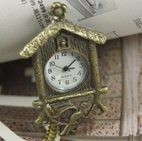 bird cage mini - hot Pocket Watch cage mens New Mini Necklace Bronze bird house Pendant With Chain fob womens man wp259