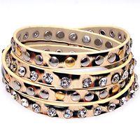 al por mayor wholesale studded leather wrap bracelets-Crystal Wholesale-y estampado de leopardo de metal de la PU de cuero pulseras, pulseras envuelto con clavos, pulseras envueltos múltiples, pulsera del abrigo, modelo 50772