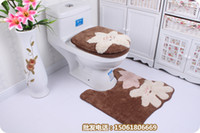 bathroom suites - coffee flower washable patch three piece bathroom set of rugs carpet suite padded toilet seat cover mats