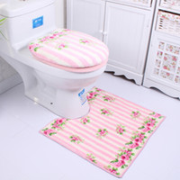 bath room sets - Eco Friendly microfiber bathroom toilet seat cover set three piece toilet mat suit bath room carpet rug sets