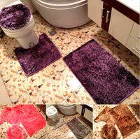 bathroom floor lighting - set HD0160 bathroom warm toilet washable cloth seat cover toilet lid cover floor mat light silk fiber mat