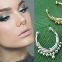 Wholesale new Fake Septum good quality Ring Gold Plated Nose Rings Fashion faux Piercing Body Jewelry Colors Optional