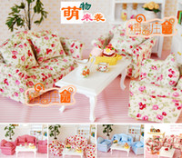 doll furniture - Mini Sofa toy set Double sofa Single sofa Table Cushion in1 Wooden Furniture Miniature for dolls amp dollhouses