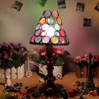 beaded table lamp - Fashion Colorful Beaded Tiffany Lighting Lamp Glass Bedside Table Lamps Wedding Deco Lights Study Room Tiffany Lighting Lamp