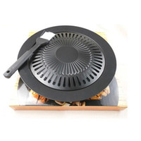 bbq gas stove - Top Churrasqueira BBQ Electric Grill Brazilian Pan Barbecue Grills Smokeless Barbeque For Household Gas Stove Indoor Black Stove