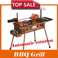 Wholesale cm Outdoor Hiking camping Charcoal Grill Picnic BBQ Grill for Barbecue amp Sliver with a utomatic rotation system