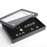 Wholesale Mixed batch of series Hot sell Organizer Show Case Jewelry Display Rings Holder Box New Black Slots Ring Storage