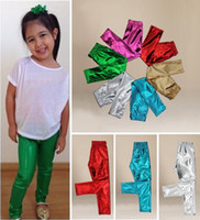 Wholesale Hot Sell Baby Kids Girl Meryl Shiny Solid Skinny Leggings Pants Trousers Y UK