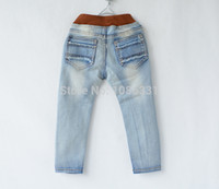 Wholesale Spring Summer Patched Denim Pants Denim Trousers Washed Children Kid Elastic Fashion ripped jeans for Boy years B104
