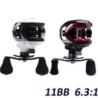 Cheap Wholesale-Hot Sale! LMA200 10+1BB Ball Bearings Left Hand Baitcasting Sea Carp Fishing Reel 6.3:1 Lures Tackle 203g White Red