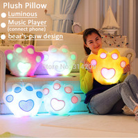 bear music player - Luminous Music Player connect phone LED Light Bear Paw Plush Pillow Gift For Valentine Girlfriend Boy Girl Christmas