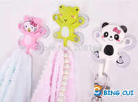 animal plastic racks - Suction Cup wall hanger Sucker Hooks Cartoon Animals Holder for Kitchen Bathroom Towel Rails Key Storage Rack GG14063003