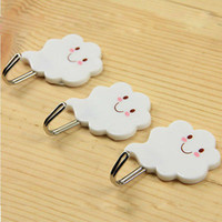 adhesive towel hook - Set White Cloud Adhesive Sticky Stick On Hooks Kitchen Bathroom Towel Hot Wall Hooks Hangers