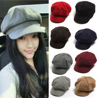 Wholesale S509 Women Girls Newsboy Hat Woolen Octagonal Cap Benn Painter Hat Spring Autumn Winter Cap Female Red Black Coffee
