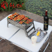Wholesale outdoor BBQ portable more Persons Picnics folding Stainless steel charcoal grill bbq household mini BBQ grill Outdoor Stove