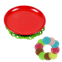 best kitchen mats - Colored Lace Cup Mat PVC Round Coaster Tea Placement accessories for table Kitchen households best deal pack