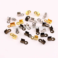Cheap Wholesale-200pc lot 8*4mm Zinc Alloy Rhodium Plated End Caps Leather Cord Crimp Caps For Necklace Chain DIY Jewelry Findings Making Y733