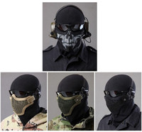 Wholesale Metal Mesh Protective Tactical Equipment Paintball Strike Steel Half Face Masks for Airsoft Two Belt Version