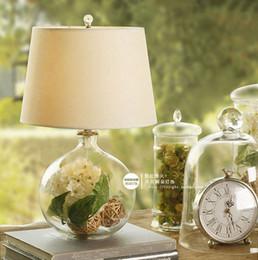 Wholesale Round ball home lights table lamps bedroom bedside lamp modern home decoration glass flower vase decor table lights