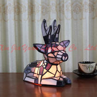 Cheap Wholesale-Deer Tiffany Glass Table Lamp Deco lighting Table Lamp For Bedroom Kids Room Lamp Lamparas de mesa Lampshades Ceatvie Gift