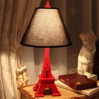 bakelite resin - Promotion Quality Red Eiffel Tower Bedside Desk Table Lamps Lights Lighting Lamp Light for Bedroom Living Room