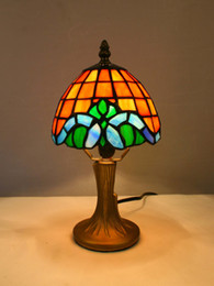 Wholesale-Traditional Tiffany Style Table Lamp With Stained Glass Led Light Lampfair Free Shipping TR06046