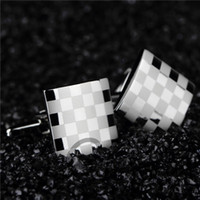 Wholesale pc Men s Wedding Gift Stainless Steel Silver Vintage Classical Grid Cuff Links