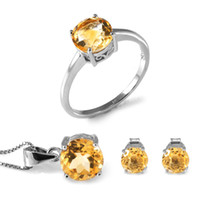 Cheap Wholesale-4.4ct Natrual Citrine Ring Earrings Pendant Necklace Jewelry Sets 925 Solid Sterling Silver Round Shape Gemstone Women 2015 Gift