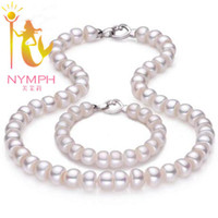 best freshwater pearls - NYMPH pearl Jewelry sets genuine freshwater pearl necklace Bracelet mm cm length best gift for women