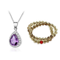 Cheap Wholesale-Free Shipping 925 Sterling Silver Natural Amethyst Necklace Double Layers Yellow Citrine Bracelet Crystal Jewelry Set
