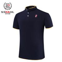 achat en gros de vêtements de travail de gros-Vente en gros-2015 Nouveau Hommes d'été Collar Polo Shirt Hommes Vêtements solides Hommes Polo Shirts Business Casual Poloshirt Coton Sportswear respirant