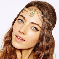 Wholesale F080 Top Fashion gold alloy chain turquoise hamsa hand charm women s head bands hair accessories crown jewelry bandeaux bandas