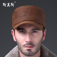 military hats - Autumn and winter nubuck leather genuine leather hat male cadet cap quinquagenarian fashionable casual military hat for man ear