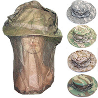 fly mask - Outdoor Camouflage Anti mosquito Bees Fly Boonie Hat With Veil Mosquito Net Mesh Beekeeping Face Mask For Fishing Camping Hiking