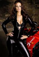 Wholesale Super Cool Women Motorcycle Black Shiny Faux Leather Bodysuit Front Zipper Sexy Bodycon Flexible Catsuit Clubwear Dance Lingerie
