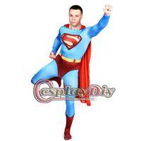 superman lycra - Superman Costume Zentai Cape Suit Adult Men High Quality Lycra Spandex Halloween Fantasia Carnival Superhero Bodysuit D0804