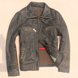 Fall-Vintage retro finishing edging cowhide genuine leather clothing male cattle leather jacket bakham biochemical flight suit short