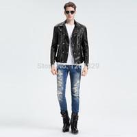 asymmetrical jacket men - Fall Jaquetas De Couro Promotion Hot Sale Turn down Collar Asymmetrical Zip Genuine Leather Famous Brand Motorcycle Jacket Men