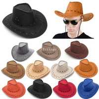 ladies dress hat - Fashion New Cowboy Hat Suede Look Wide Brim West Fancy Dress Mens Ladies Cowgirl Unisex Hats Colors A1