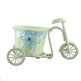 Wholesale Fantastic big wheel round basket rattan floats flower vase flowerpots containers small flower bike flower pot Sky Blue