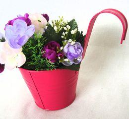 Wholesale Size cm pure garden bucket tin box Iron pots flower metal Hanging Planter