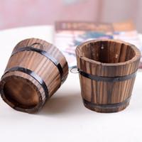 barrel plant pots - Rustic Small Barrel Primaries Small Wooden Ornamental Flower Pot Flower Basket Flower Bowyer For Wdding Home Decoration