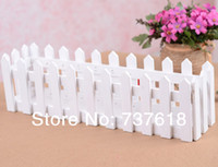 artificial wood flooring - White Wooden Fence Home Garden Flower Container Floral Supplies x10 x9 cm