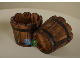 Wholesale Carbonized wood preservative largemouth wood planting flower barrels wooden flower pots wavy edge