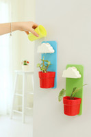 Wholesale Piece Wall Mounted Clouds Rainy Flower Pot DIY Yard Plants Pot with Seeds for Gardener